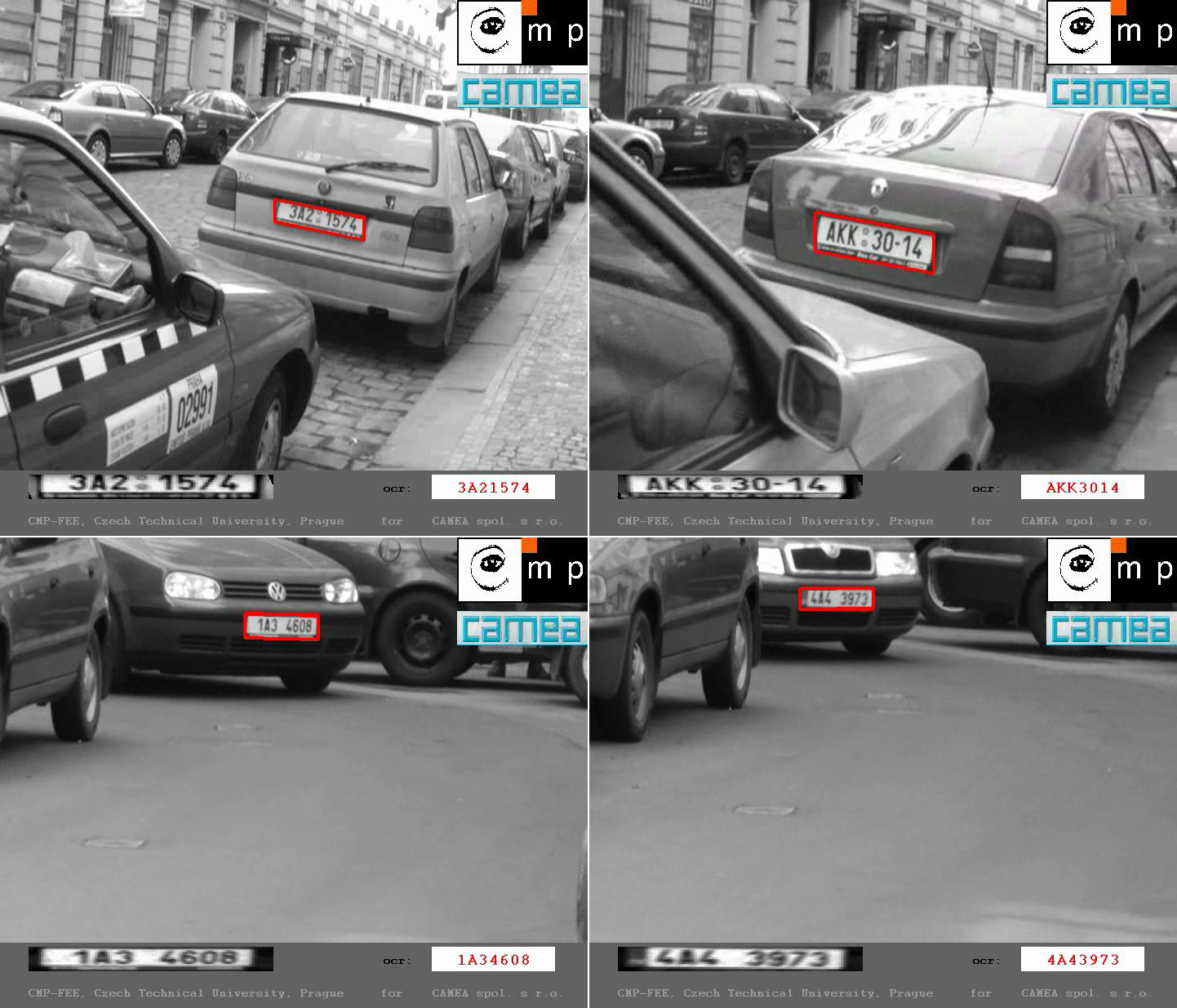 Industry application for license plate recognition. Videos are available at  http://cmp.felk.cvut.cz/cmp/courses/X33KUI/Videos/RP_recognition.